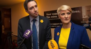 Minister for Health Simon Harris and Irish Cancer Society chief executive Averil Power during the launch of Daffodil Day at the Citywest Hotel. Photograph: Gareth Chaney Collins