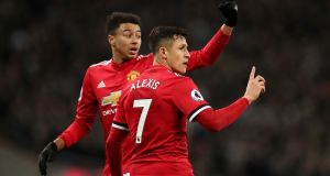 Manchester United's Jesse Lingard (left)  will hope to continue his upward trajectory  despite  the competition that Alexis Sánchez (right) brings.  Photograph: Adam Davy/PA Wire