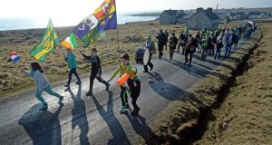 Local children lead the parade of islanders on St Patrick's Day on Tory Island in 2016. File photograph: Eric Luke/The Irish Times