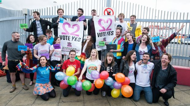 Joey Kavanagh (centre back), founder of Get the Boat to Vote, with a group of young emigrants who returned from London to vote for marriage equality in 2015. Photograph: Dave Meehan/The Irish Times