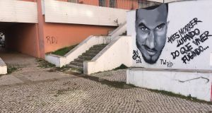 A mural in memory of MMA fighter Joao Carvalho in Pragal near Lisbon. Photograph: Malachy Clerkin