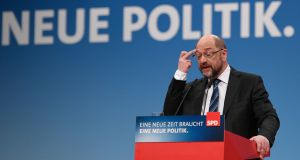 Martin Schulz: has announced he will abandon his bid to become foreign minister in a new coalition government with chancellor Angela Merkel. Photograph: Sascha Schuermann/AFP/Getty
