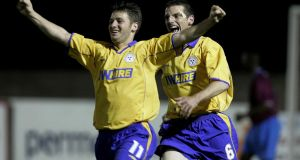 Wes Hoolahan celebrates scoring for Shelbourne with Jim Crawford back in 2004. Photo: Morgan Treacy/Inpho