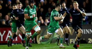 Connacht's Caolin Blade makes a break during their Pro14 meeting with Ospreys. Photo: James Crombie/Inpho