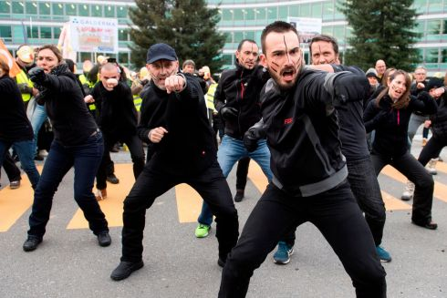 GALDERMA THREAT: Employees of French pharmaceutical company Galderma, a subsidiary of Nestle, protest in front of Nestle HQ in Vevey, Switzerland, after the Swiss giant  decided to close the Galderma site at Sophia Antipolis, southern France. About 400 out of 550 jobs are threatened. Photograph: Richard Juilliart/AFP/Getty Images