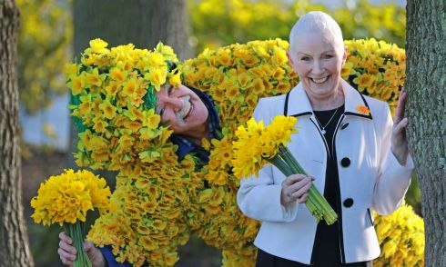 FLOWER POWER: James Gilleron, of Blackhorse Avenue, Dublin, with Stephanie Powell, of Newbridge, on hand to mark the Launch of the Irish Cancer Society's Daffodil Day 2018.  Photograph: Nick Bradshaw