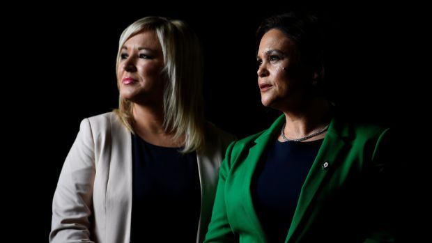 New Sinn Féin president Mary Lou McDonald (right) and deputy president Michelle O'Neill just before an ardfheis in Dublin to formalise their new party roles. Photograph: Clodagh Kilcoyne/Reuters