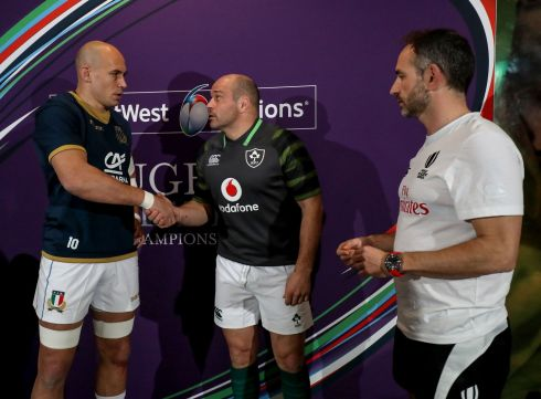 The two captains - Sergio Parisse and Rory Best - with referee Romain Poite at the coin toss. Photograph: Inpho