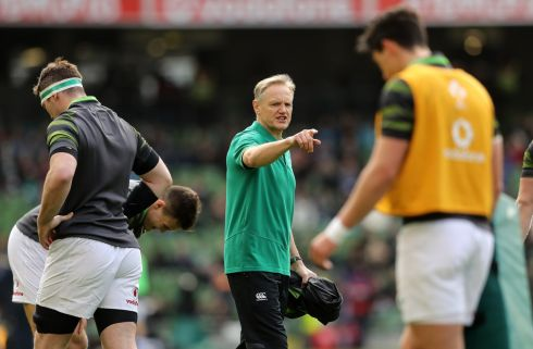 Ireland head coach Joe Schmidt gives some final instructions. Photograph: Inpho
