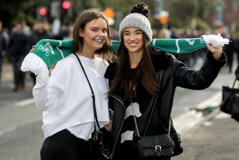 Ireland fans Julianne Murphy and Ruth McCormack on their way to the Aviva. Photograph: Inpho