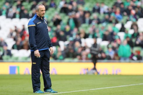 Ireland native and Italy head coach Conor O'Shea looks on. Photograph: PA