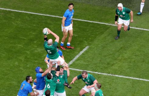 Ireland's Devin Toner wins a line out in the clouds. Photograph: Inpho