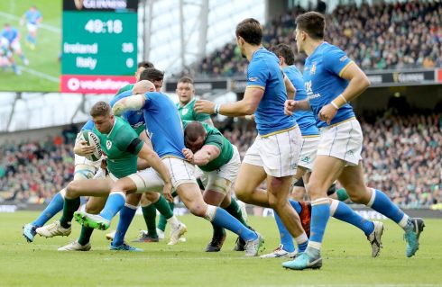 Jordan Larmour in the thick of the action on his Irish debut. Photograph: Inpho