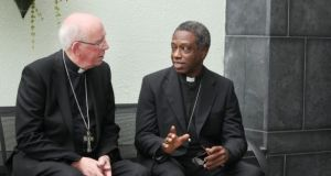 Archbishop Jude Thaddeus Okolo  Apostolic Nuncio to Ireland, with Cardinal Sean Brady last August. File Photograph: John Mc Elroy