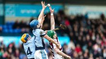 Na Piarsaigh's Niall Buckley and Jerome Boylan compete for the sliotar with Gerald Bradley. Photograph: Laszlo Geczo/Inpho