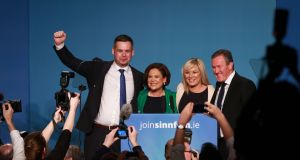 Sinn Féin Deputy  Pearse Doherty (left), new president Mary Lou McDonald, new deputy president Michelle O'Neill and Conor Murphy MLA celebrating  at  the RDS on Saturday. Photograph: Nick Bradshaw