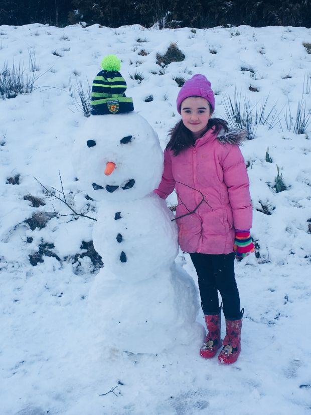 Mia Evesson (8) enjoying the snow in Aughnaseelin in Co Leitrim on Sunday.