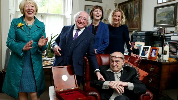 Tom Murphy was awarded the title of Saoi, Aosdána's highest honour, by President Michael D Higgins, to recognise his achievements. Photograph: MaxwellPhotography.ie