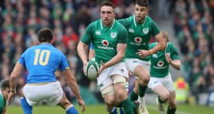 Ireland's Jack Conan. In the lead up to Earls' try Conan instinctively knew to get the ball away from where Italy were honey-potting to where the space existed. Photograph: Brian Lawless/PA