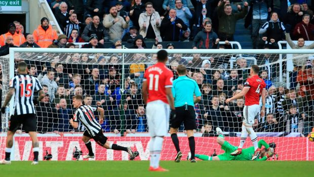 Ritchie strikes the only goal of the game for Newcastle. Photo: Lindsey Parnaby/Getty Images
