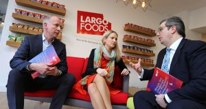 Maurice Hickey, CEO of Largo Foods and chairman of the Prepared Consumer Foods Council, Minister for European Affairs Helen McEntee,  and Kevin McPartlan, director of Prepared Consumer Foods, Ibec, at the launch of the Food Drink Ireland  report.  Photograph: Gary O'Neill