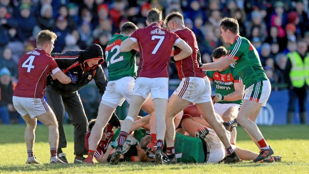 Tempers flare in the closing stages in Salthill. Photograph: Donall Farmer/Inpho