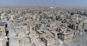 An aerial view of Raqqa, the one-time capital of Islamic State's so-called caliphate, after US-backed Syrian Democratic Forces said military operations to oust the jihadist group ended last October. Photograph: Gabriel Chaim/AP