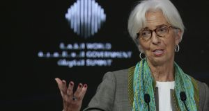 Christine Lagarde, managing director of the International Monetary Fund (IMF) speaking at  the World Government Summit in Dubai on Sunday. Photograph: Christopher Pike/Reuters