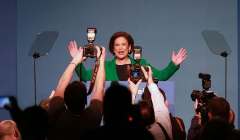 ACKNOWLEDGING THE FAITHFUL: Mary Lou McDonald accepts adulation from party members after she was elected as new leader of Sinn Fein at the party ardfheis in the RDS. Photograph: Nick Bradshaw