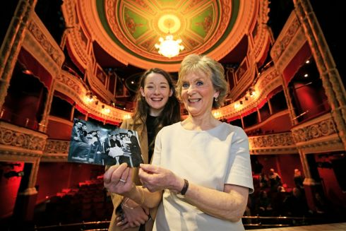 KEEP HER LIT: Druid Theatre and the Gaiety Theatre brought together as many people as they could who have played the role of Sive in John B Keane's play of that name. Pictured are the current Sive Grainne Good (left) and Margaret Ward, who played the part in 1959.  Photograph: Nick Bradshaw