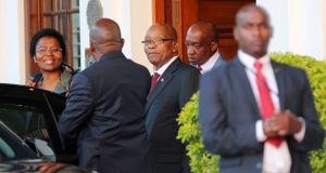 President Jacob Zuma leaves Tuynhuys, the office of the presidency in Cape Town, SA, February 7, 2018. Photograph: Reuters/Sumaya Hisham