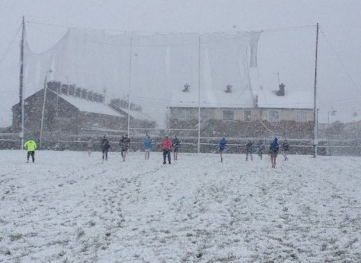 Arravale Rovers GAA Club members training in the snow.