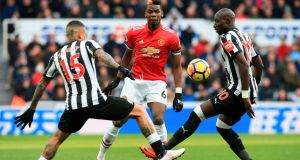 Paul Pogba in action against Newcastle. Photograph: Lindsey Parnaby/Afp