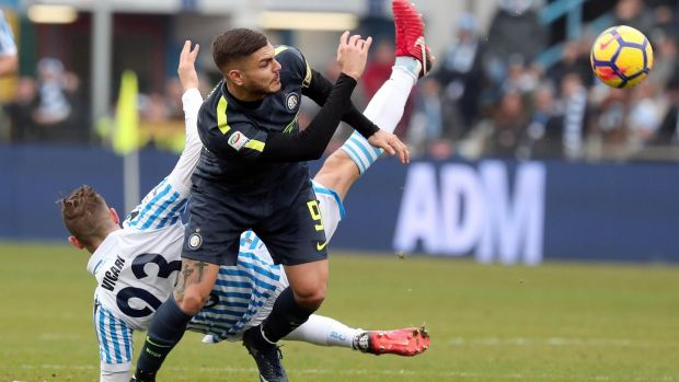 Inter's Mauro Icardi in action against Spal. Photograph: Serena Campanini/EPA