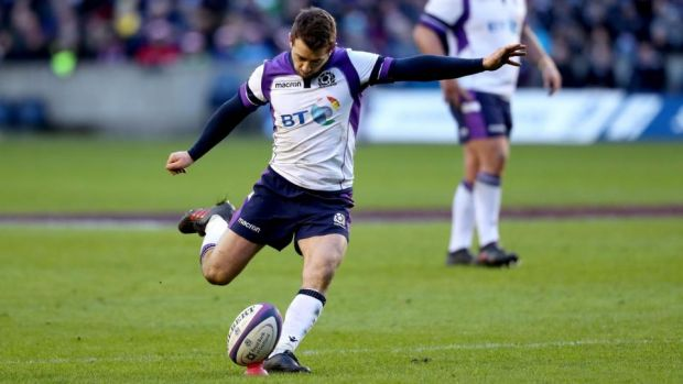Greig Laidlaw scored 22 points as Scotland beat France at Murrayfield. Photograph: Andrew Milligan/PA