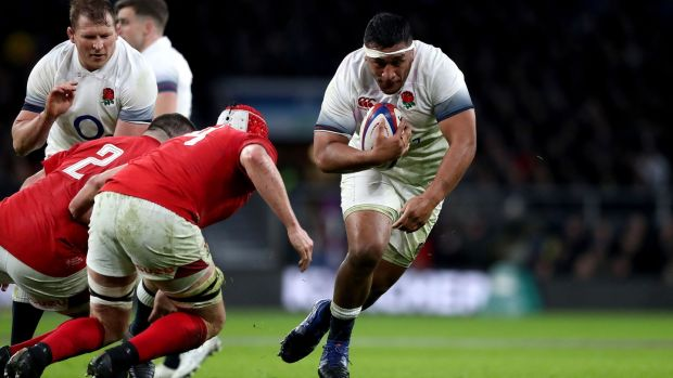 Mako Vunipola carries against Wales. Photograph: Adam Davy/PA
