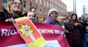 A demonstartion for the unrestricted right to work for asylum seekers outside the Dail. Photograph: Cyril Byrne