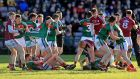 Tempers flare in the closing stages of the Allianz Football League Division One game between Galway and Mayo at   Pearse Stadium. Photograph:  Donall Farmer/Inpho