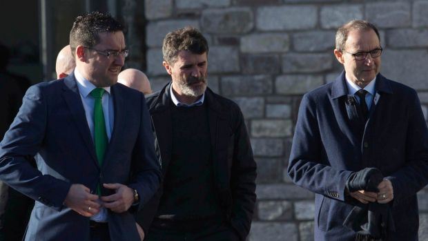Roy Keane (centre) and Martin O'Neill (right) arrive for the funeral of former Celtic and Manchester United footballer Liam Miller, at St John the Baptist Church in Ovens, Co Cork. Photograph: Clare Keogh/PA Wire