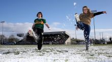 Kerry fans Marion O'Sullivan and Trish Lacey on the Inniskeen pitch after the Allianz Football League Division One match between Monaghan and Kerry was called off last Sunday. Photograph: John McVitty/Inpho