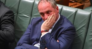Barnaby Joyce: he had to resign in October from parliament when it emerged he was entitled to New Zealand citizenship through his father. Photograph: Mick Tsikas/AAP/via Reuters