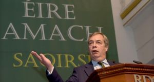 Former Ukip leader Nigel Farage speaking at the Freedom to Prosper conference at the RDS. Photograph: Bryan Meade