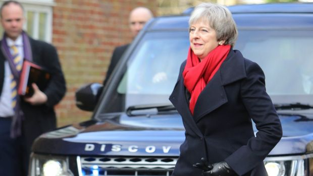 British Prime Minister Theresa May arriving in Stormont on Monday. Photograph: EPA/Paul McErlane