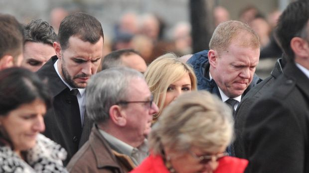 Republic of Ireland international John O'Shea and former manager Steve Staunton at Liam Miller's funeral Mass in Ovens, Co Cork. Photograph: Daragh Mc Sweeney/Provision