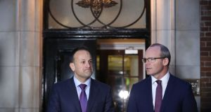 Taoiseach Leo Varadkar and Minister for Foreign Affairs Simon Coveney speaking outside Stormont House in Belfast, following a bilateral meeting with British prime minister Theresa May. Photograph:  Niall Carson/PA Wire