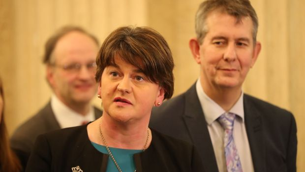DUP's Arlene Foster speaking to the media at Stormont Parliament buildings as Prime Minister Theresa May and Taoiseach Leo Varadkar are holding crunch talks at Stormont House amid growing speculation that a deal to restore powersharing is edging closer. Photograph: Niall Carson/PA Wire