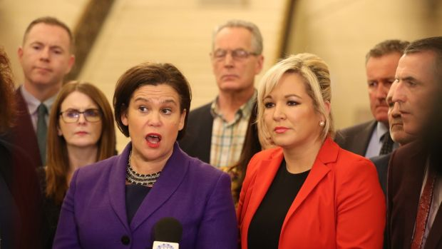 Sinn Fein's president Mary Lou McDonald (left) and Sinn Fein's vice president Michelle O'Neill, speaking to the media at Stormont Parliament buildings. Photograph: Niall Carson/PA Wire