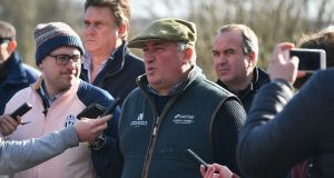 Trainer Paul Nicholls is interviewed during a stable visit to his yard at Manor Farm Stables, Ditcheat. Photograph:   Ben Birchall/PA Wire
