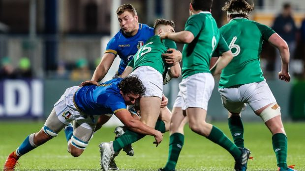 Flanker Jacopo Bianchi (bottom left), who was been sent off after just nine minutes of the Under-20 Six Nations match against Ireland at Donybrook, is considered a senior star of the future. Photograph: Laszlo Geczo/Inpho