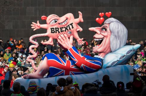 PROUD PARENT: A float featuring a parody of prime minister Theresa May is seen during the annual Rose Monday parade in Dusseldorf, Germany. Photograph: Lukas Schulze/Getty Images